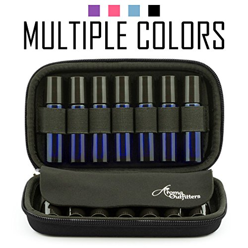 Aroma Outfitters Essential Oil Carrying Case. Premium Storage Protection & Organizer for Roller Bottles. Carry Case Protects up to 14 Roller Balls and Sample Drams - Perfect for Travel (Black)