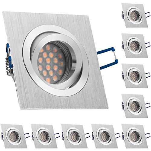 10er LED Einbaustrahler Set Bicolor (chrom   gebürstet) mit LED GU10 Markenstrahler von LEDANDO - 5W DIMMBAR - schwenkbar - warmweiss - 60° Abstrahlwinkel - A+ - 50W Ersatz - LED Einbauleuchte 5 Watt - eckige   quadratische Form