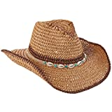 TROPICAL TRENDS Crocheted Toyo Straw Jute Shell Details (LT178) (Brown)
