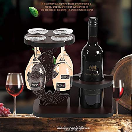 JJ Botella De Vino Tinto Portavasos DecoracióN Sala De Estar para El Hogar Soporte De ExhibicióN De Vino De Madera SóLida - Puede Poner 1 Botella De Vino - 4 Copas De Vino Tinto