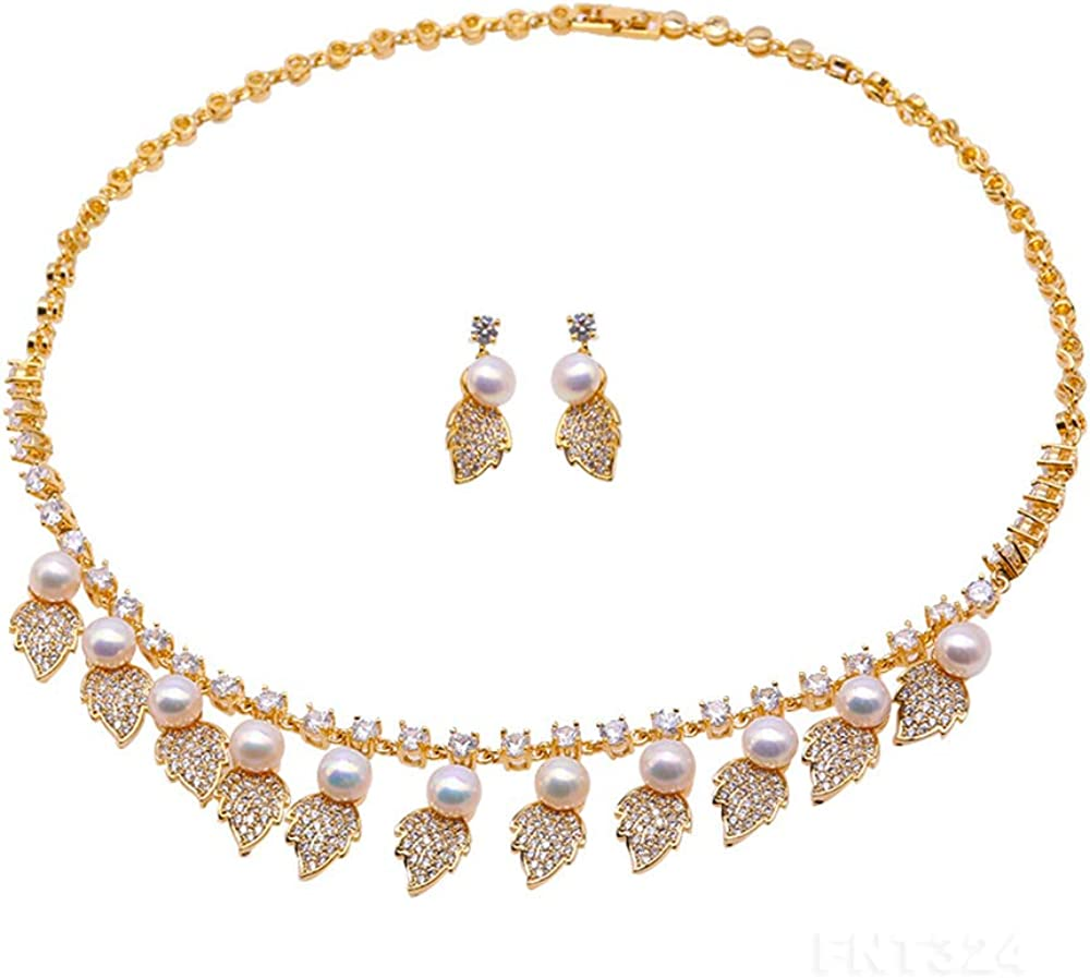 JYX Jewelry Set 7mm White Freshwater Pearl Necklace and Earrings Set Dotted with Zircons