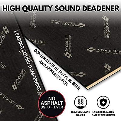 Second Skin Damplifier Pro Premium Car Sound Deadening Material (2mm) – Butyl Rubber Auto Sound Deadener Mat (13.67 Sq Ft, 8 Sheets) – Made in The USA: Automotive