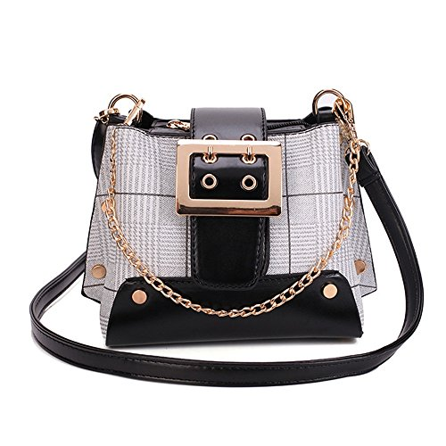 Bucket Pu Asdflina Suitable Large Messenger Bag Shoulder Black Everyday Chain Use Magnetic Retro Bag Strap Capacity For Color Hit Simple pAvwpqB