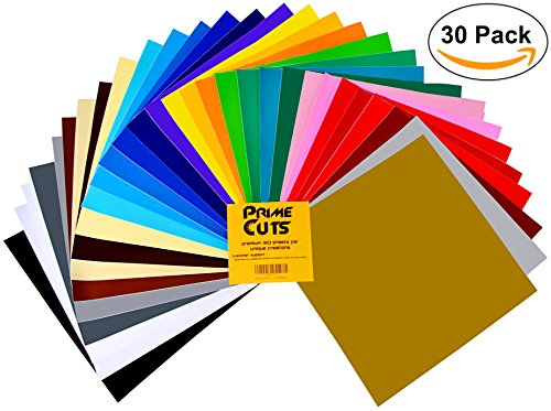 Permanent Adhesive Backed Vinyl Sheets by PrimeCuts USA - 30 Vinyl Sheets 12'' x 12'' - 30 Assorted Color Sheets for Cricut, Silhouette Cameo, and Other Craft Cutters by PrimeCuts