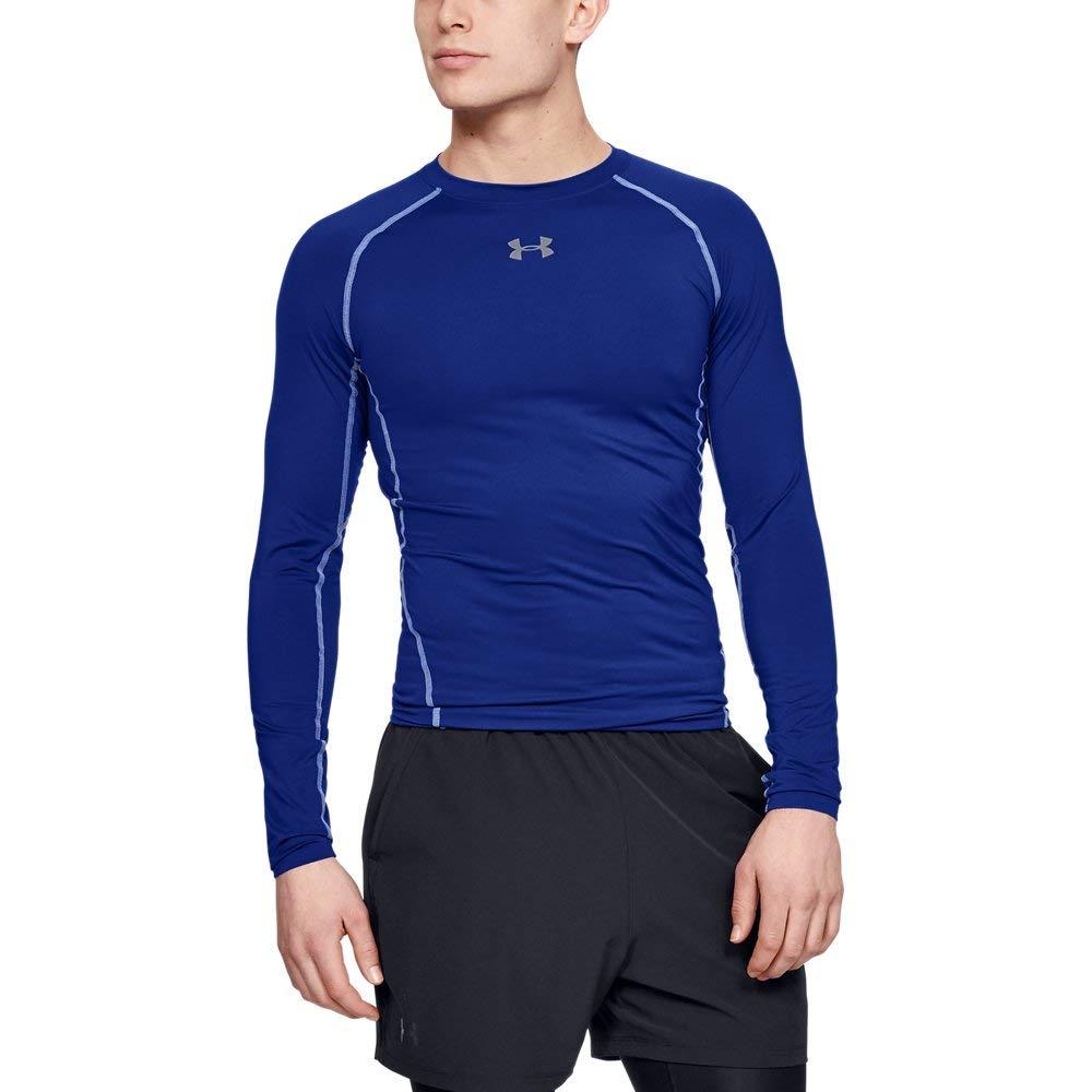 Under Armour Men's HeatGear Long Sleeve Compression Shirt, Royal (400)/Steel, Small