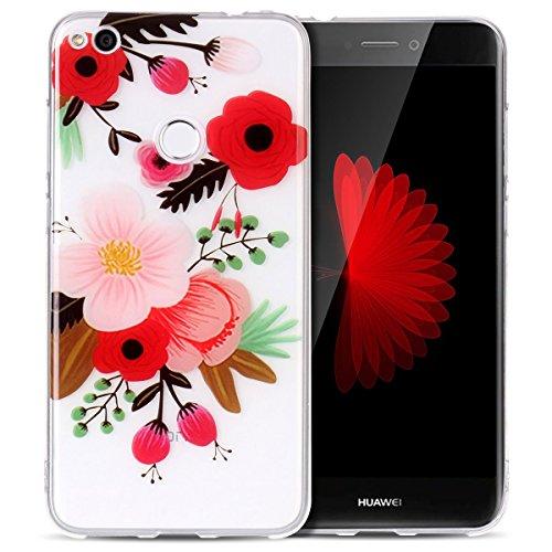 Funda Huawei P8 Lite 2017, SpiritSun Soft Carcasa Funda Diseño Mate Opaco Ultrafina TPU Bumper para Huawei P8 Lite 2017 (5.2 pulgadas) Suave Silicona Piel Carcasa Ultra Delgado y Ligero Goma Flexible  Prugne Flower