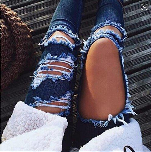 Media Jeans Casual Largos Mujeres Sylar Pantalones Denim Vaqueros Ripped Negro Pantalones Delgado Cintura a0wnFOq