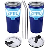 Stainless Steel Tumbler with Lid, Double Wall Vacuum Insulated Travel Mug for Hot and Cold Drink by Zero Degree (20oz 2 Pack Blue)