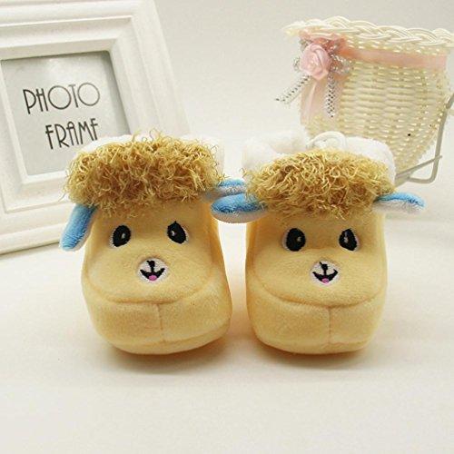 Xshuai Baby Mädchen Jungen Cute Schaf Print Stiefel Soft Sohle Anti-Rutsch-Stiefel Prewalker Warm Schuhe Gelb