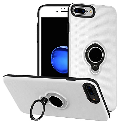 iPhone 6 Plus/6s Plus Battery Case - Veepax Premium 3700mAh Portable Charging Case for 6 Plus&6s Plus&7 Plus&8 Plus Extended Rechargeable Power Bank with Ring Holder Magnet Kickstand - White