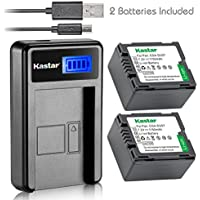 Kastar Battery (X2) & LCD USB Charger for Panasonic CGA-DU07 and NV-GS40 GS44 GS47 GS50 GS55 GS58 PV-GS150 GS200 GS300 GS320 GS400 GS500 SDR-H250 H280 VDR-D258 D300 D308 D310 D400 M74 M75 M95 M250