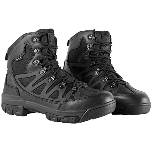 FREE SOLDIER Men Tactical Boots Mid High Rise Hiking Shoes Winter Leather Boots Black + Leather COrzgjq