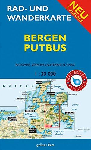 Rad- und Wanderkarte Bergen, Putbus: Mit Ralswiek, Zirkow, Lauterbach, Garz. Maßstab 1:30.000. Wasser- und reißfest.