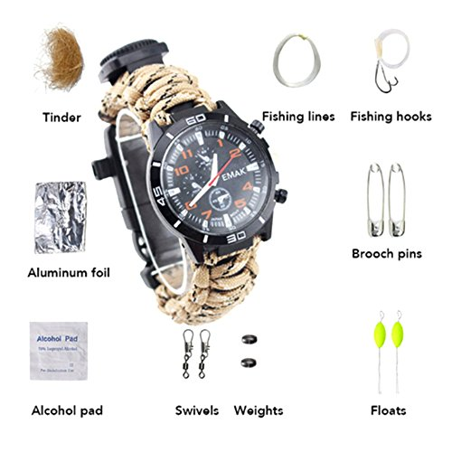 1Pcs Camping Watch 16 In 1 Multifunctional 9'' Camouflage Yellow Paracord Bracelet Sahara Sailor Outdoor Survival Kit W Compass Flint Fire Starter Scraper Whistle For Hiking Camping Emergency More