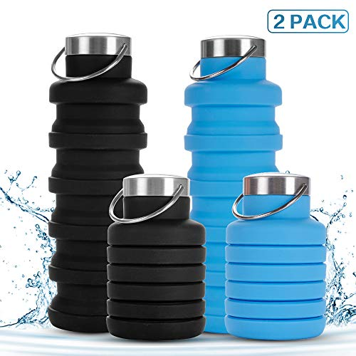 Rosoz Collapsible Water Bottle - BPA Free FDA Approved Food, Grade Silicone Water Bottle, Leakproof Lightweight Portable Foldable for Travel Sports Outdoor and Gym Black&Blue