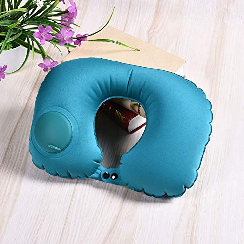 YRRW Portable U-Shape Inflatable Travel Pillow Car Head Rest Air Cushion for Travel Office Nap Head Rest Air Cushion Neck Pillow Light Blue 4028