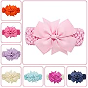 Wehous 8 Pcs Baby Girl's Headbands Turban Chiffon Hairband for Newborn and Children
