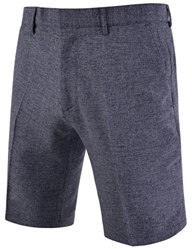 DETYLISH NDSP1020 Mens Slim Straight Fit Flat Front Summer Bokashi Suit Shorts Charcoal 27W(Tag Size S) by DETYLISH