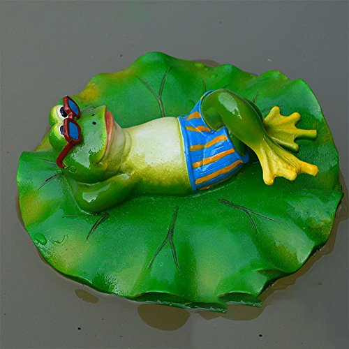 Zehui Garden Outdoor Lawn Pool Floating Frog Model Sculpture Ornament Decor Resin Toy Fish Pond, Water Fountain, Decoration, Pastoral Style, Personality, Creative Sculpture E