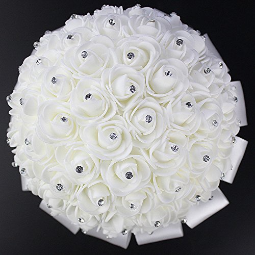 2017 Romantic Wedding Bride Holding Bouquet Roses with Crystal Diamond Ribbon Artificial Foam Flower Bouquet (White)