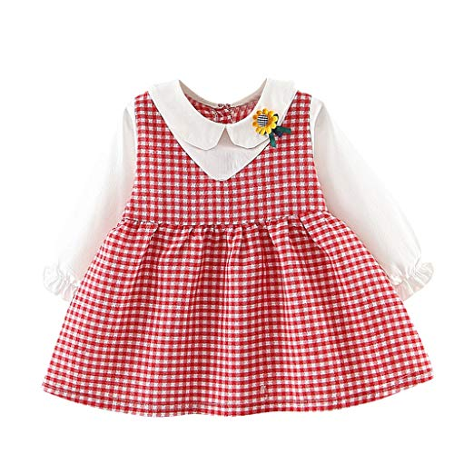 VEFSU Toddler Kids Baby Fake Two Dresses Plaid Sunflower Girls Princess Party Dress Lovely Clothes Red]()