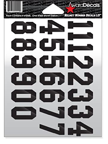 Number Stickers for Helmets (Football, Baseball, Softball, Hockey, Lacrosse, Etc.) (Black)