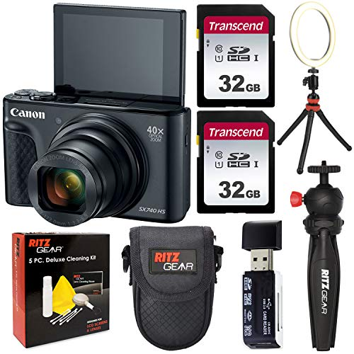 Canon SX740 HS Camera (Black) Vlogger's Bundle with Two Transcend 32GB Video Cards, LED Ring Light, Tabletop Tripod, 5…