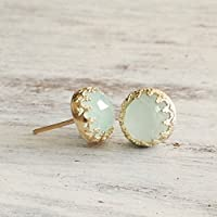 Gold Jade Earrings Light Green Stud Set of 2 14k Gold Filled Crown Jewelry