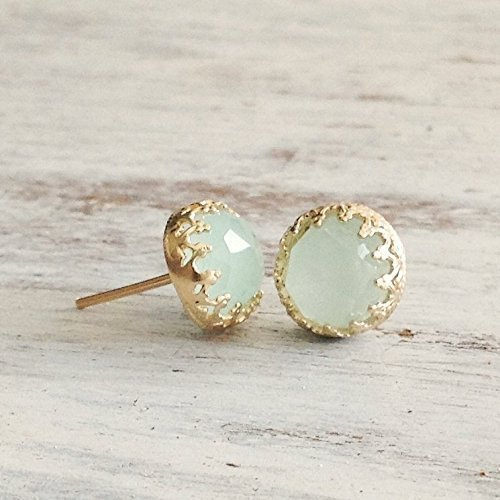 Gold Jade Earrings Light Green Stud 14k Gold Filled Crown Jewelry Set