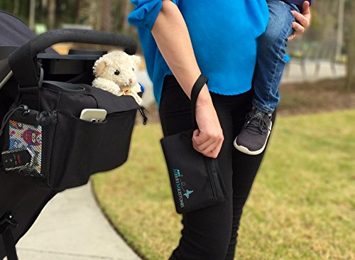 Stroller Organizer Bag with Detachable Wristlet and Extra-Large Insulated Cup Holders, Parent Storage for Smart Mom Accessories- Phone, Keys, Cards, Diapers, Perfect Baby Shower Gift by Merry Milestones (Image #3)