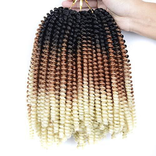 3 Packs Ombre Spring Twist Hair 8 inch Crochet Braids Kanekalon Synthetic Hair Extensions Braiding Hair Kinky Curly Twist