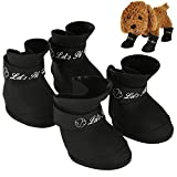 Pets Waterproof Boots, 4pcs Silicone Cute Anti-slip Protective Rain Shoes Booties for