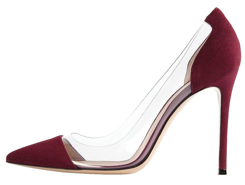 DYF Frauen Nackt Scharfe Feine Schuhe Transparent High Heel Transparent Schuhe Office, 10 cm, Weinrot, 41 - 026cac