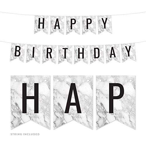 Andaz Press Gray Marble Birthday Party Banner Decorations, Happy Birthday, Approx 5-Feet, 1-Set, Wedding Bridal Shower Bachelorette Birthday Colored Hanging Pennant Decor