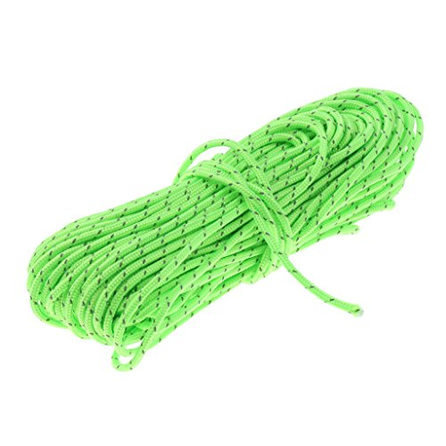 50ft Reflective Guyline Tent Bivi Basha Rope Guy Line Camping Cord Paracord - Fluo Green