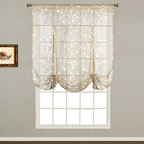 United Curtain Savannah Tie Up Shade, 40 by 63-Inch, Taupe (Draped Shade Curtain)