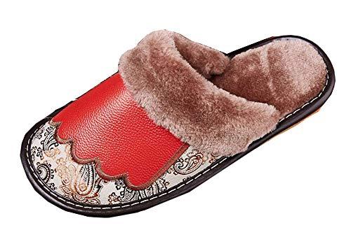 Homme Cuir Sk Pantoufle Chaussons Femme Studio Maison D'hiver Confortable Slipper Rouge Ultra léger Antidérapant Pantoufles qTZZwYI
