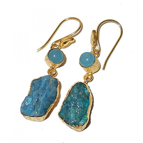Apatite Chalcedony Earrings - Blue Chalcedony And Raw Apatite Gemstone Dangle Earrings