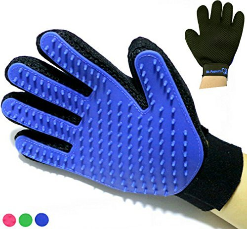 Mr. Peanut's Han-D Glove Pet Grooming Brush & Deshedding Tool, for Long and Short Hair Grooming of Dogs, Horses, Bunnies & Some Agreeable Cats, Pet Massage & Bathing Brush & Comb (Blue) by KlipspringerTrek.