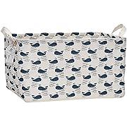 Sea Team 17.7  x 11.8  x 9.8  Square Natural Linen & Cotton Fabric Storage Bins Shelves Storage Baskets Organizers for Nursery & Kid's Room (Whale)