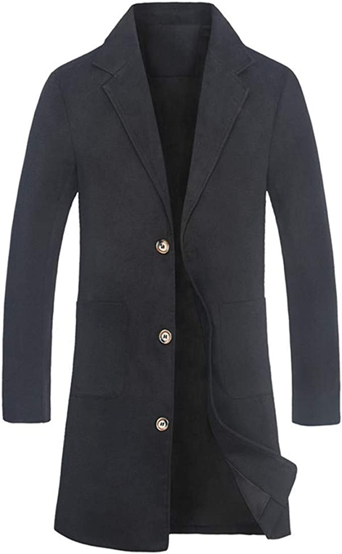 Rising ON Mens Classic Turn Down Collar Cool Mid Long Pea Coats