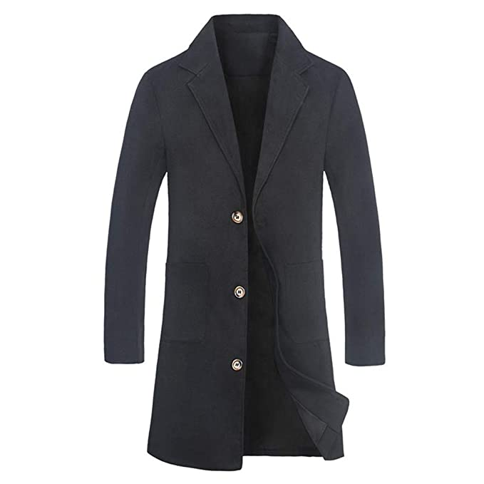 ae9d2dd41095 Fabal Men s Formal Coat Solid Color Winter Jacket Turn Down Collar ...
