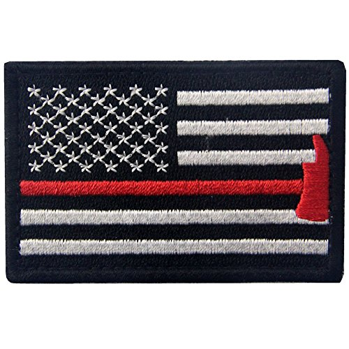 - Rocking Planet US Flag with Firefighter Axe Embroidered Tactical Morale Hook & Loop Patch