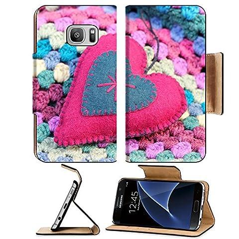 Luxlady Premium Samsung Galaxy S7 Flip Pu Leather Wallet Case IMAGE ID 25530113 pink and blue felt shabby chic heart on a crochet afghan - Crochet Shell Afghan