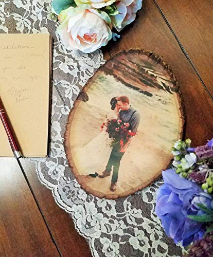 Photo Basswood Tree Slice Personalized with Your Picture Printed on Wood Slab  Rustic Wedding New Baby Birthday Family Anniversary Gift Pet