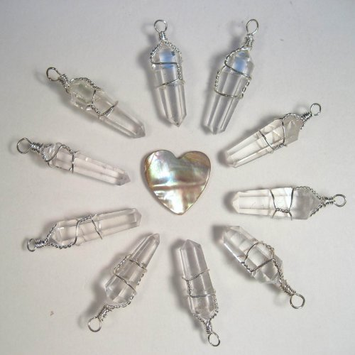 - 10 Double Terminated Wire Wrapped Quartz Pendants with Carved Abalone Heart
