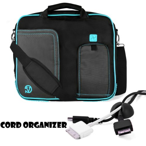 Strong Water-Resistant Nylon Protective Shoulder Carrying Messenger Case For Acer Iconia W3-810-1600 8.1 inch Tablet (32 GB)+ Black Cable Organizer