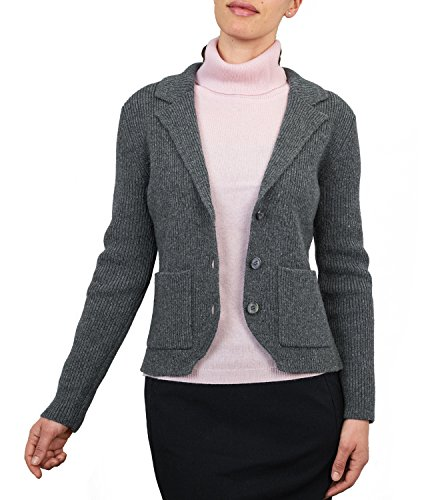 Womens Lambswool Relaxed Knitted Jacket Mid Grey Marl, L