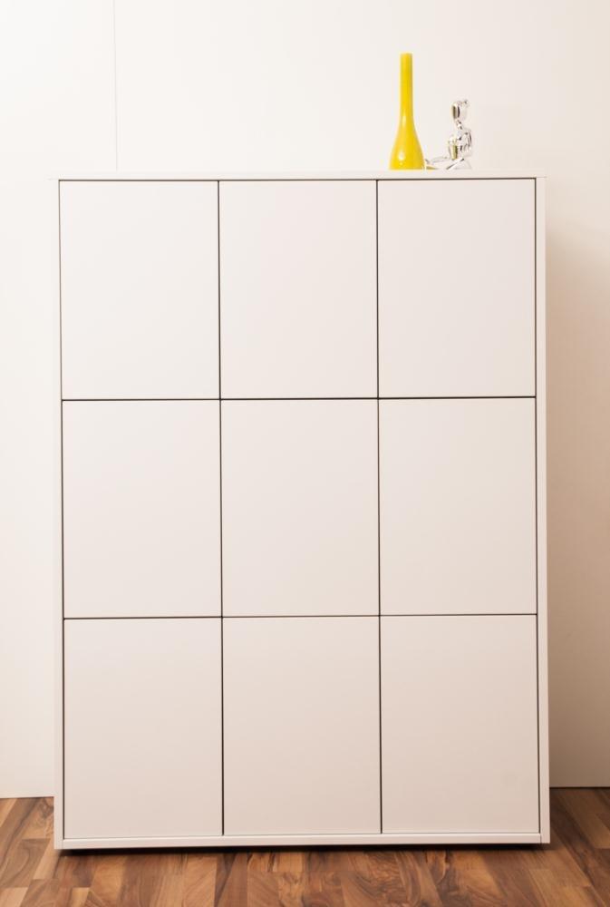 SimO H1492 B1086 T400mm Büromöbel weiß glänzend mit Kabelkanal, 8 Türen B343mm