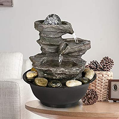 PeterIvan Tabletop Fountain - Relaxation Desktop Waterfall Fountain with LED Ball on The Top for Office, Room Decoration, Portable Decorative Indoor Fountain, 11inch